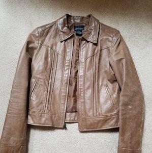 Leather crop jacket